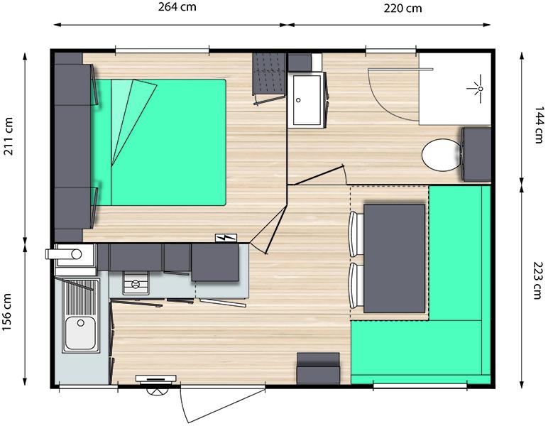 Plan de nos Mobil-Home 1 chambre