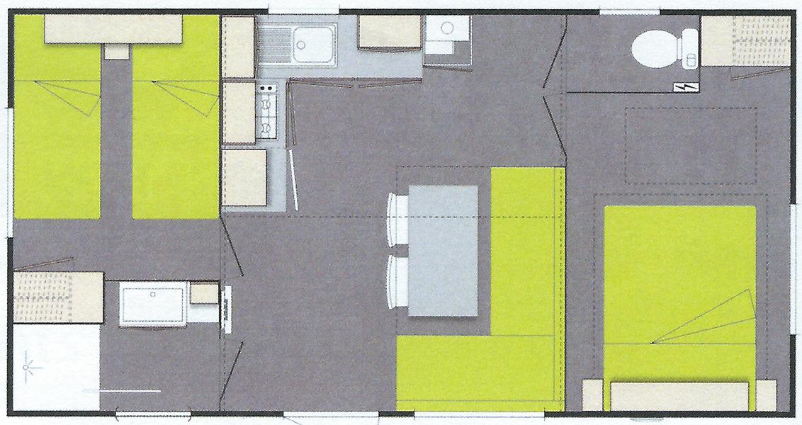 Plan de nos mobil-home 2 chambres